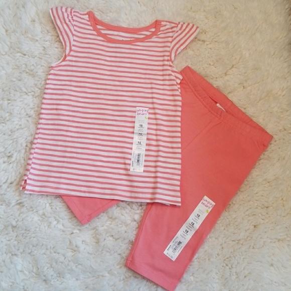 Jumping Beans Peach   White Capri Outfit NWT 542ef583f